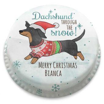 Dachshund through the Snow Cake