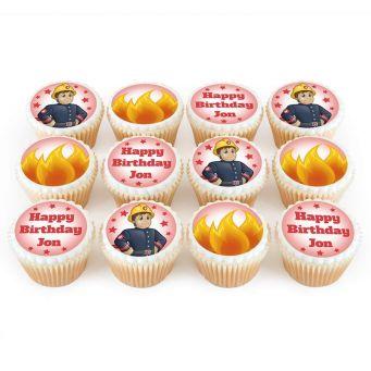 12 Fireman Cupcakes