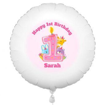 1st Baby Girl Animal Balloon