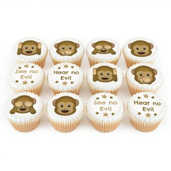 12 Monkey Emoji Cupcakes