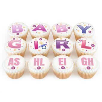 12 Baby Girl Cupcakes