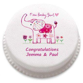 Baby Girl Elephant Cake