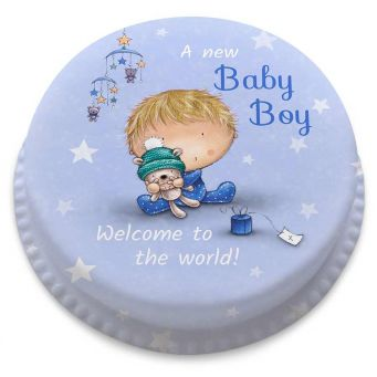Blue Starry Baby Boy Cake