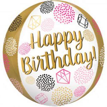 Happy Birthday Pink Orbz Balloon