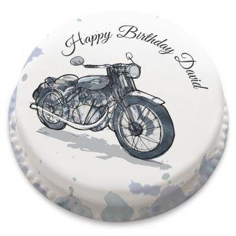 Watercolour Motorbike cake