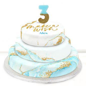 3rd Birthday Blue Foil Cake