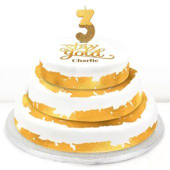 3rd Birthday Gold Foil Cake