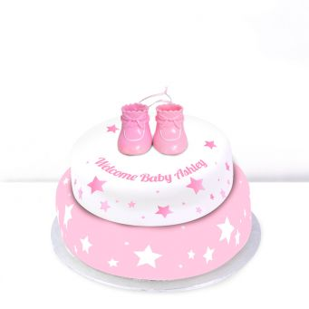Pink Baby Boots Cake