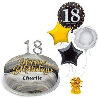 18th Birthday Black Marble Gift Set