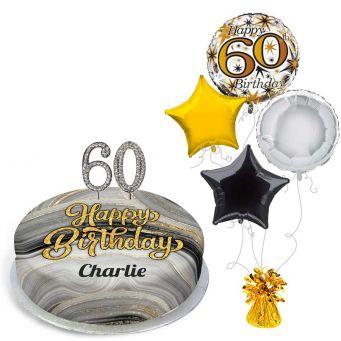 60th Birthday Black Marble Gift Set