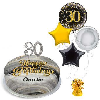 30th Birthday Black Marble Gift Set