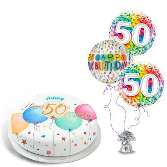 50th Birthday Balloons Gift Set