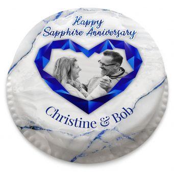 Sapphire Anniversary Heart Cake
