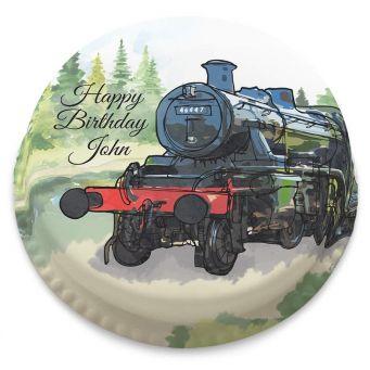 Watercolour Train Cake