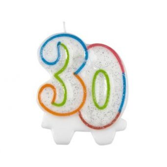Colourful 30th Candle