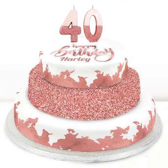40th Birthday Rose Foil Cake