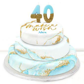 40th Birthday Blue Foil Cake