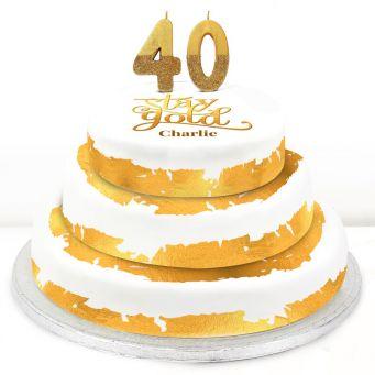 40th Birthday Gold Foil Cake