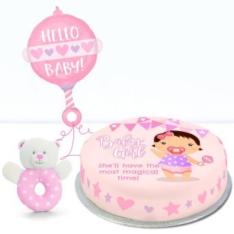 Pink Baby Rattle Gift Set