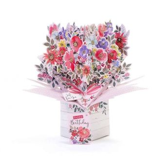 Colourful flowers pop up card