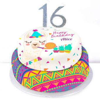 16th Birthday Party Llama Cake