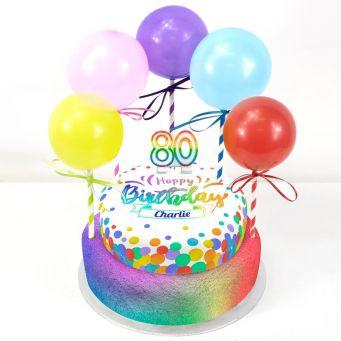 80th Birthday Balloons Cake