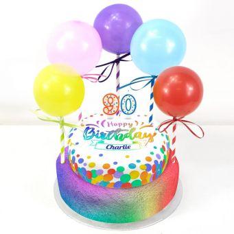 90th Birthday Balloons Cake