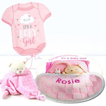 Pink Baby Blanket Gift Set