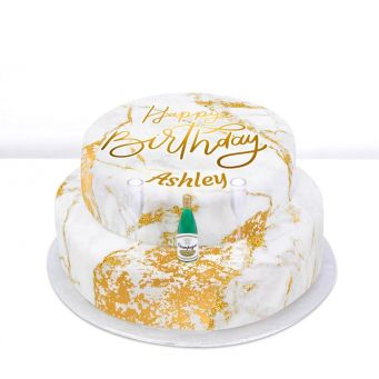 Tiered Champagne Birthday Cake