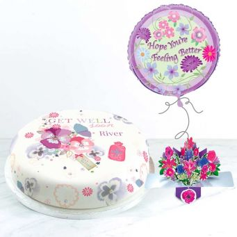 Get Well Flowers Gift Set