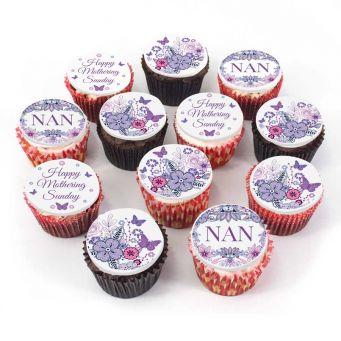 12 Floral Nan Cupcakes