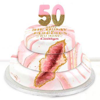 50th Birthday Pink Foil Cake