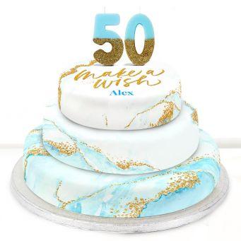 50th Birthday Blue Foil Cake