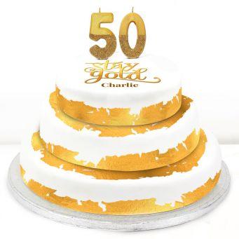 50th Birthday Gold Foil Cake