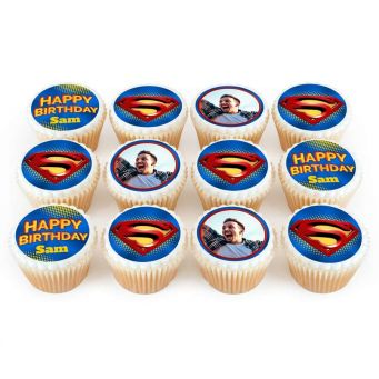 12 Superman Photo Cupcakes