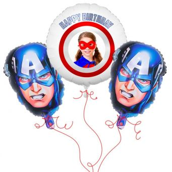 Captain America Photo Balloon Bouquet