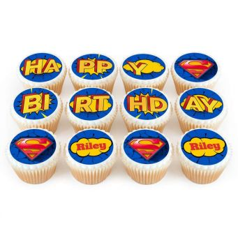 12 Superman Cupcakes