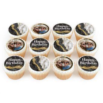 12 Black Marble Cupcakes