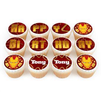 12 Iron Man Cupcakes
