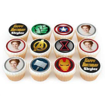 12 Avengers Photo Cupcakes