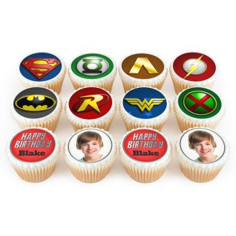 12 Justice League Photo Cupcakes