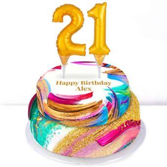 21st Birthday Paint Cake