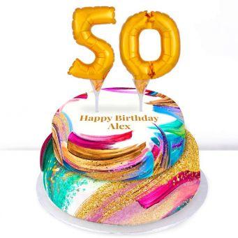 50th Birthday Paint Cake