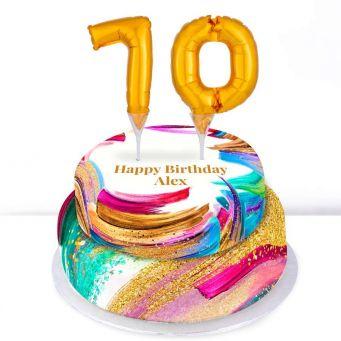 70th Birthday Paint Cake