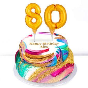 80th Birthday Paint Cake