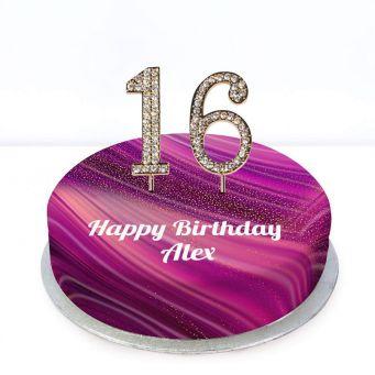16th Birthday Purple Marble Cake