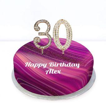 30th Birthday Purple Marble Cake