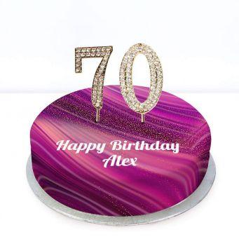 70th Birthday Purple Marble Cake