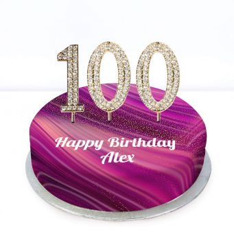 100th Birthday Purple Marble Cake