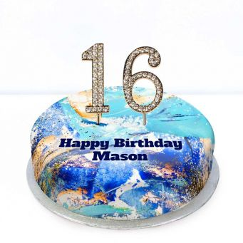 16th Birthday Blue Marble Cake